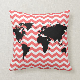 black world map / coral chevron throw pillow