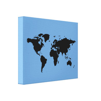 black world-map on blue canvas print