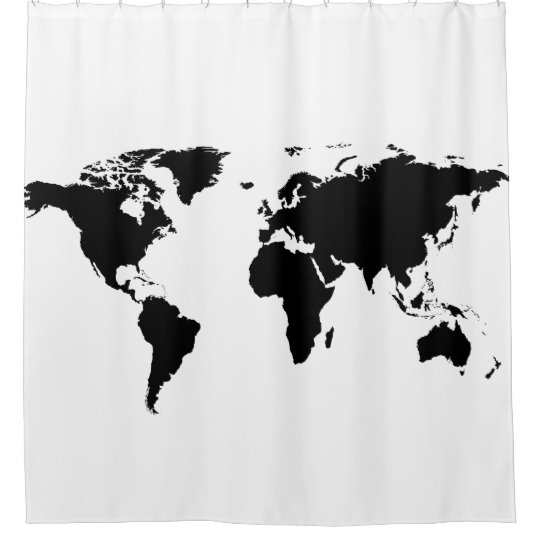 black world map on white