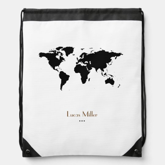 black world map personalized backpack