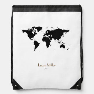 black world map personalized drawstring bag