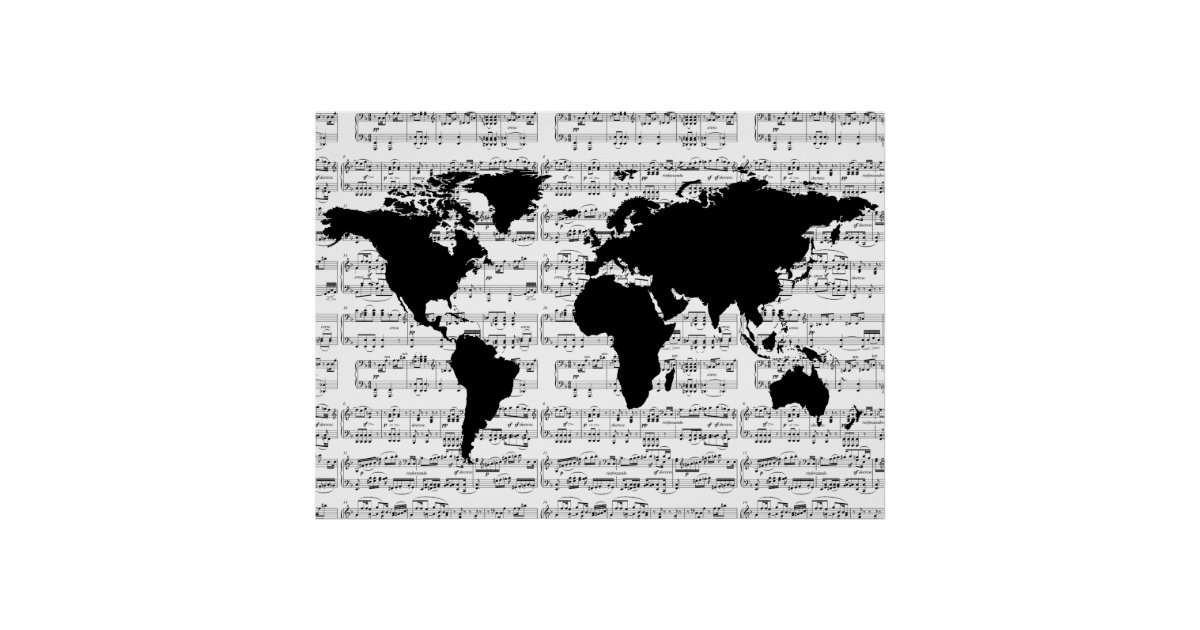 Black World Map With Musical Notes Poster Zazzleca - World map silhouette poster