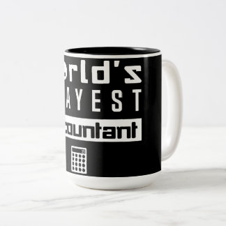 Black World's Okayest Accountant-Calculator Keypad Two-Tone Coffee Mug