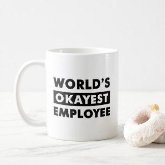 Black World's Okayest Employee Personalized Mug