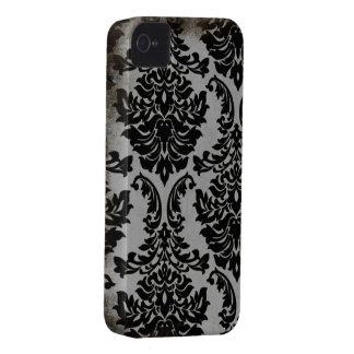 Black worn damask stylish pattern iphone 4 case