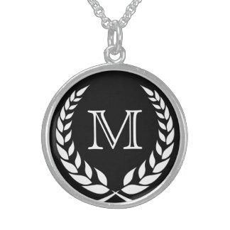 Black Wreath Frame Monogram Sterling Silver Necklace
