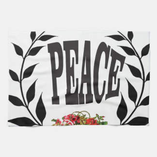 black wreath peace hand towels