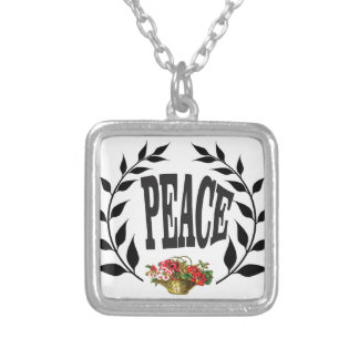 black wreath peace silver plated necklace