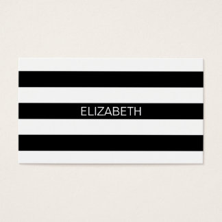 Black Wt Horizontal Preppy Stripe #2 Name Monogram Business Card