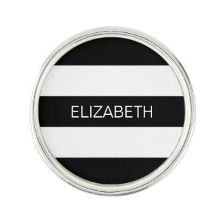 Black Wt Horizontal Preppy Stripe #3 Name Monogram Lapel Pin