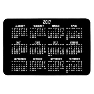 Black Yearly Calendar 2017 Large Flexible Magnets