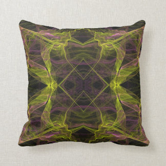 Black, Yellow and Pink Abstract Fractal Pillow