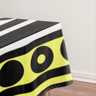 Black, Yellow and White Polka Dots and Stripes Tablecloth