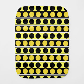 Black, Yellow and White Stripes and Polka Dots bur Burp Cloth