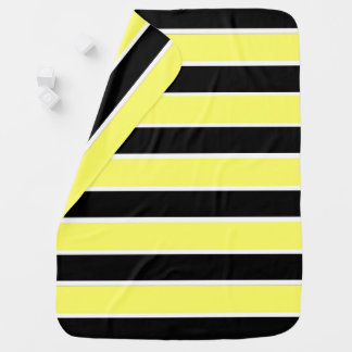 Black, Yellow and White Stripes Baby Blanket