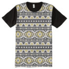 Black yellow aztec tribal hobo pattern All-Over-Print T-Shirt