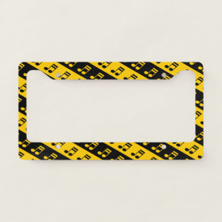 Black & Yellow Beamed Sixteenth Notes Pattern License Plate Frame