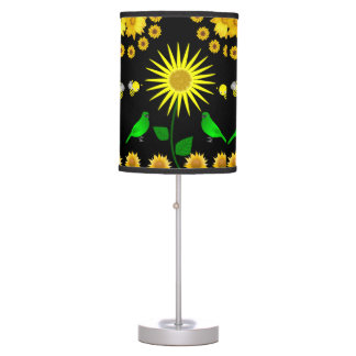 black yellow bird lamp shade