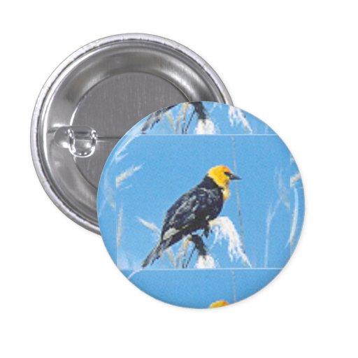Black & Yellow Bird Pin Button ! !