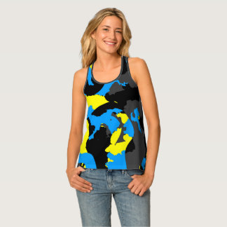 Black yellow blue and gray tank top