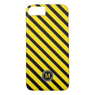 Black & Yellow Bumble Bee Diagonal Stripe Monogram iPhone 8/7 Case