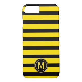 Black & Yellow Bumble Bee Stripe Monogram iPhone 8/7 Case