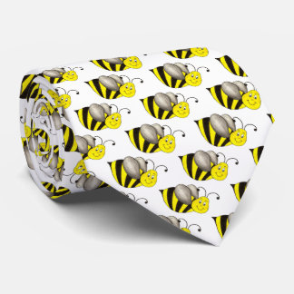 Black Yellow Bumblebee Cartoon Bee Bees Insect Tie