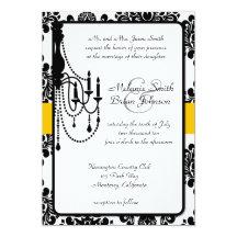 Black & Yellow Chandelier Damask Invitation