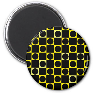Black & Yellow Checkers 2 Inch Round Magnet