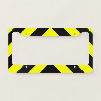 Black & Yellow Chevron-Like Pattern License Plate Frame