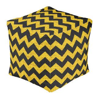 Black Yellow Chevron Pattern Burlap Rustic Jute Pouf