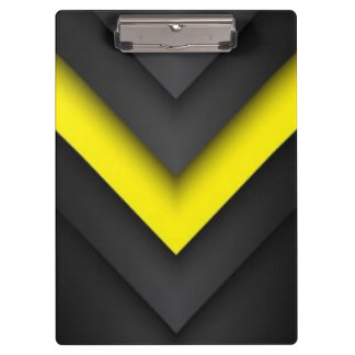Black & Yellow Chevron Pattern Print Design Clipboard