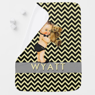 Black & Yellow Chevron Prince Personalized Nursery Baby Blanket