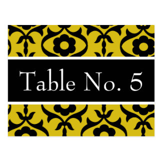 Black & Yellow Damask Wedding Postcard Table #'s