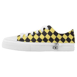Black-&-Yellow Diamond pattern Low Tops Zipz Shoes