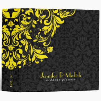 Black & Yellow Floral Vintage Damasks Vinyl Binder