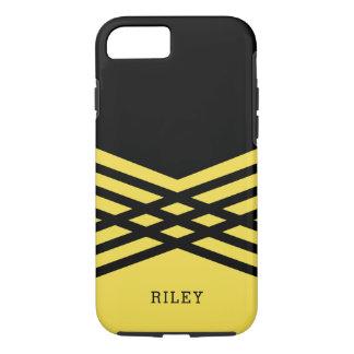 Black & Yellow Geometric - Add Your Name iPhone 7 Case