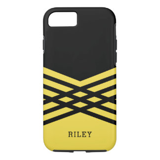 Black & Yellow Geometric - Add Your Name iPhone 8/7 Case