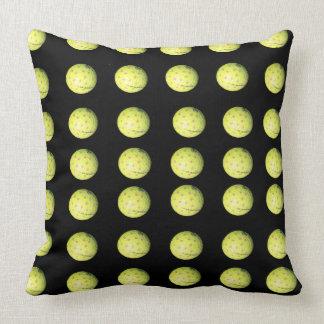 Black Yellow Golf Ball Pattern Large Throw Cushion