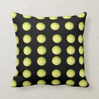 Black Yellow Golf Ball Pattern, Throw Cushion. Throw Pillow
