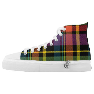 Black/Yellow/Green/Orange Plaid High Top Sneakers