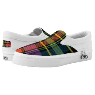 Black/Yellow/Green/Orange Plaid Slip On Sneakers