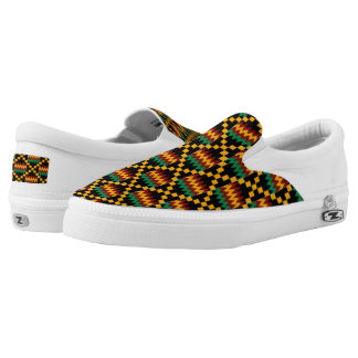 Black Yellow Green Red African Kwanzaa Kente Cloth Slip-On Sneakers
