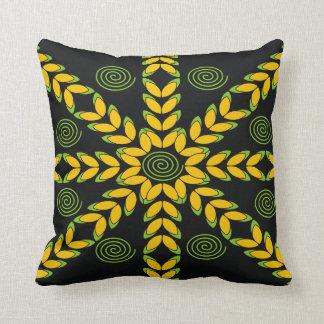 Black Yellow Leaves Pattern Modern Throw Pillow