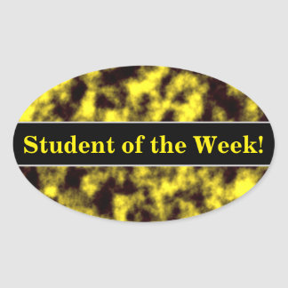 Black & Yellow Misty/Hazy/Cloudy/Foggy Pattern Oval Sticker