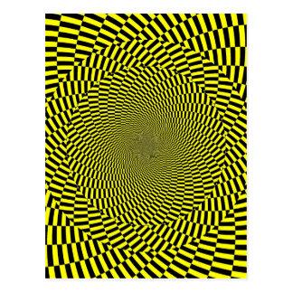 Black Yellow Optical Illusion Pattern Spiral Print Postcard