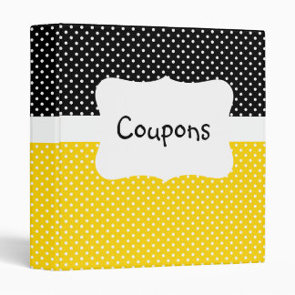 Black/Yellow Polka Dot Coupon organizer 3 Ring Binder