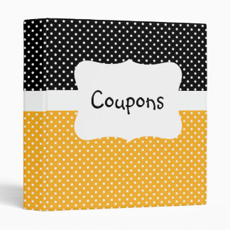 Black/Yellow Polka Dot Coupon organizer Vinyl Binders