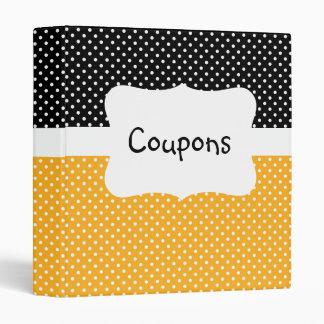 Black/Yellow Polka Dot Coupon organizer Binders