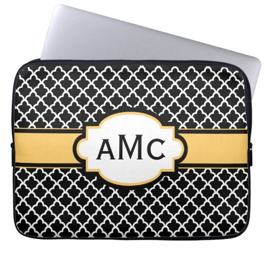 Black Yellow Quatrefoil Monogram Laptop Sleeve